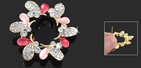 Amaranth Pink Leave Rhinestone Accent Flower Pin Brooch Breastpin Gift Gold Tone