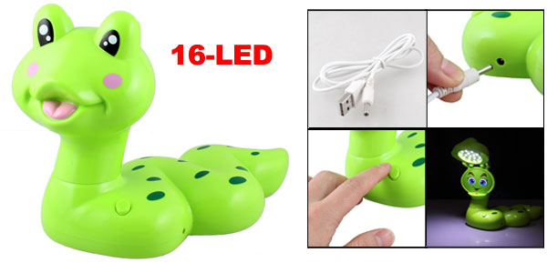 White 16-LED Green Plastic Snake Shaped USB Desk Lamp w Cable