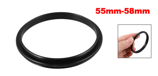 55mm-58mm 55mm to 58mm Male to Male Step up Ring Adapter Black for Camera