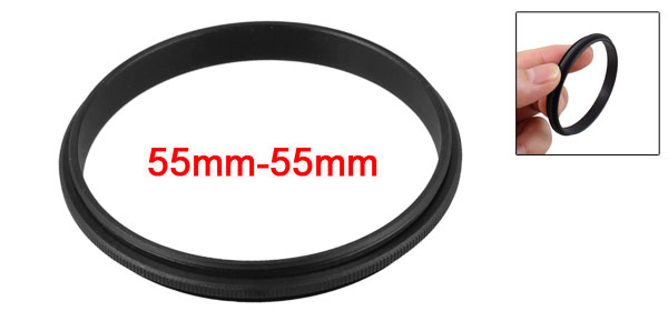 55mm Male to Male Metal Step Ring Adapter Black for Camera
