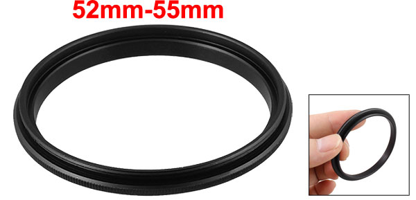 52mm-55mm 52mm to 55mm Male to Male Step up Ring Adapter Black for Camera