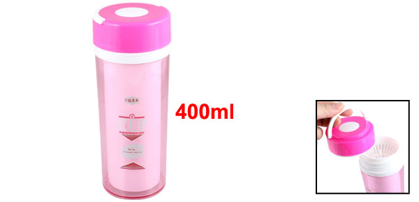 Portable Pink Plastic Vacuum Flask Bottle Insulated Tumbler 400ml