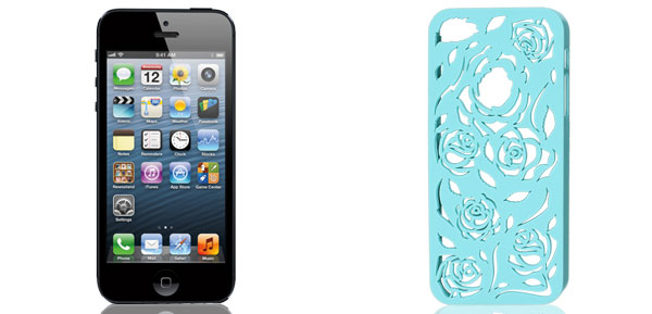 Hollow Out Rose Pattern Light Blue Back Case Cover for iPhone 5 5G 5th