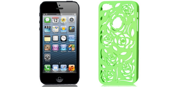 Hollow Out Rose Design Lime Green Back Case Cover for iPhone 5 5G 5th