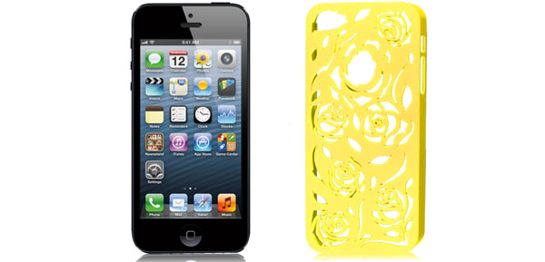 Yellow Hollow Out Rose Plastic Back Case Cover for Apple iPhone 5 5G