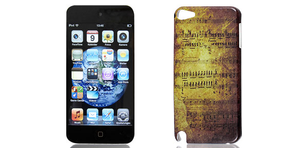 Retro Style Music Notes Pattern Hard Back Case Cover for iPod Touch 5 5G 5th