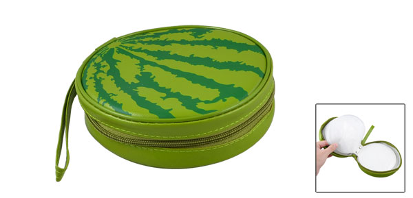 Green Watermelon Pattern Faux Leather Hand Strap 20 Pieces Capacity CD DVD Holder Bag