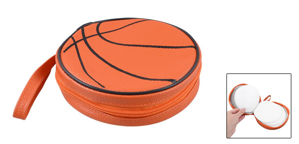 Orange Black Basketball Pattern Zippered Round Case 20 Pieces Capacity DVD CD Holder Bag
