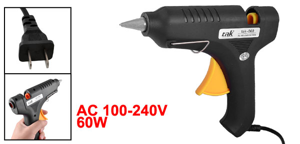 AC 100-240V 60W 2 Flat Pin Plug Plastic Housing Hot Melt Trigger Glue Gun Black Yellow