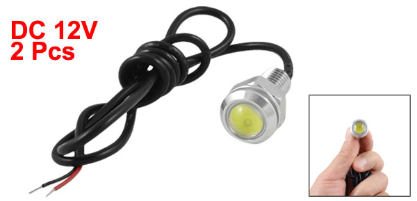Car Auto 9.5mm Thread Lamp White LED Reversing Light Bulb 2 Pieces