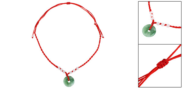 Women Red Braid String Beads Green White Donut Shape Faux Jade Pendant Necklace