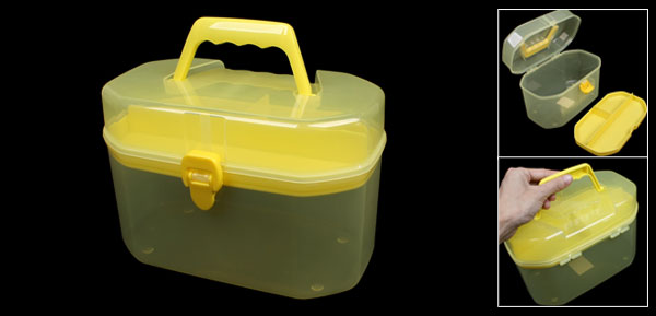 Yellow Clear Plastic Double Layers Family Health Care Medicine Chest Box Case