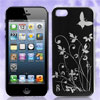 Flower Butterfly Design Black Hard Back Case Cover for iPhone 5 5...