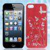 Red Floral Butterfly Pattern Hard Back Case Cover for Apple iPhon...