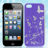 Purple Flower Butterfly Pattern Hard Back Case Cover for Apple iP...