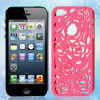 Flower Rose Pattern Hot Pink Plastic Back Case Cover for iPhone 5 5G 5th Gen
