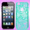 Green Hollow Out Rose Design Plastic Back Case Cover for Apple iP...