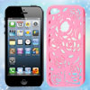 Hollow Out Rose Pattern Pink Back Case Cover for iPhone 5 5G 5th