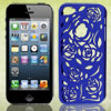Blue Hollow Out Rose Design Plastic Back Case Cover for Apple iPh...