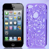 Hollow Out Rose Design Purple Back Case Cover for iPhone 5 5G 5th...