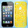 Yellow Hollow Out Rose Plastic Back Case Cover for Apple iPhone 5...