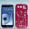 Floral Butterfly Pattern Burgundy Hard Back Case Cover for Samsung Galaxy S3 i9300