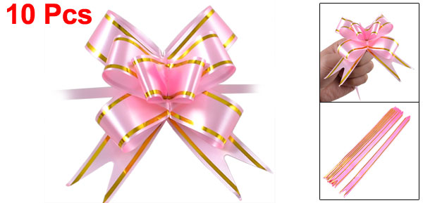 10 Pcs Gift Wrap Pull Bow Ribbons Pink for Wedding Decoration