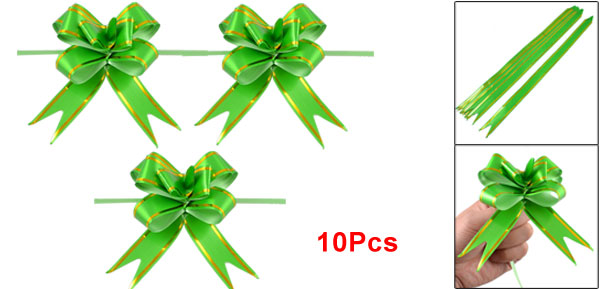 Green Wedding Decoration Gift Wrap Pull Bow Ribbons 10 Pieces