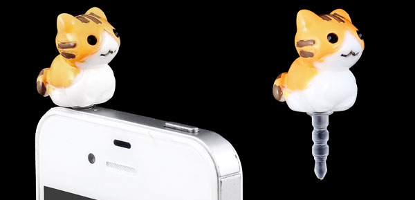 Orange White Cat 3.5mm Earphone Anti Dust Plug Cap Stopper for Cell Phone