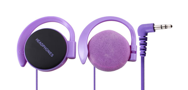 3.5mm Jack Clip on Stereo Headphone Earphone Purple for Cell Phone