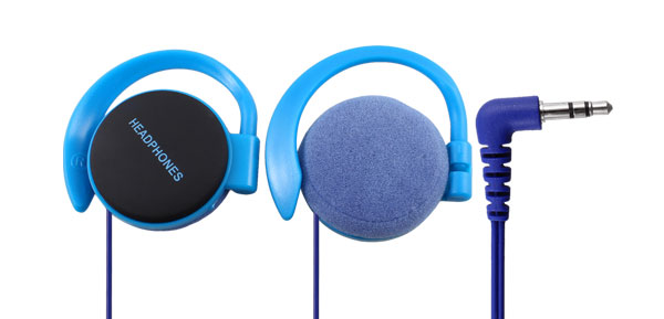 3.5mm Plug Clip on Stereo Headphone Earphone Blue for Phone