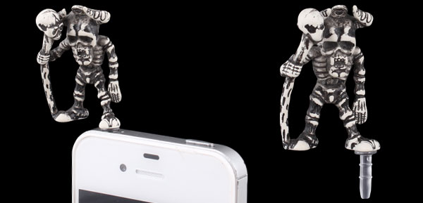 Gray Skeleton Decor Anti Dust 3.5mm Earphone Cap Plug for Phone