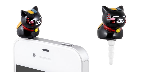 Black Cat Design 3.5mm Earphone Anti Dust Plug Cap Stopper for iPhone 3G 4 4S 5G