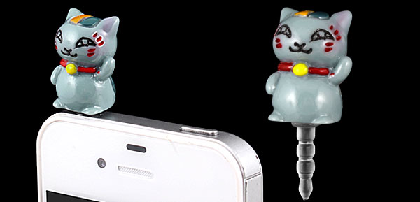 Gray Cat Design 3.5mm Earphone Anti Dust Plug Cap Stopper for iPhone 3G 4 4S 5G