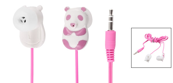 Pink Panda 3.5mm Plug In Ear Stereo Headphone Earphone 1.1M for iPod iPhone iPad