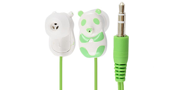 Green Panda 3.5mm Plug In Ear Stereo Headphone Earphone 1.1M for iPod iPhone iPad