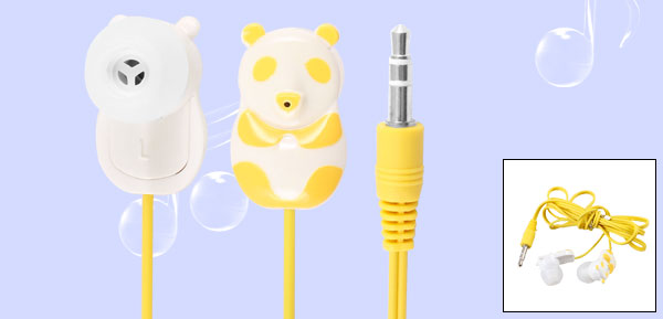 Yellow Panda 3.5mm Plug In Ear Stereo Headphone Earphone 1.1M for iPod iPhone iPad