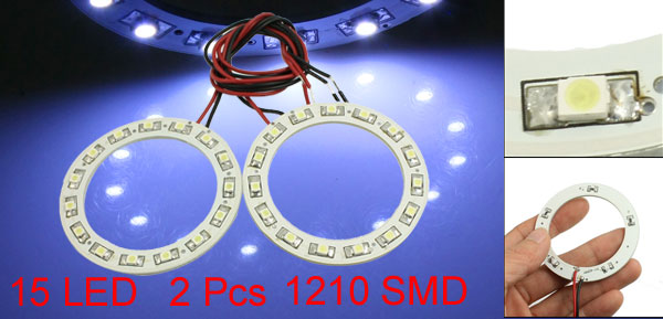 Car Auto Motorcycle 1210 SMD 15 LED Angel Eyes Ring Light White 60mm 2 Pcs