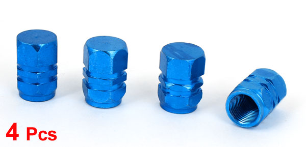 Motorcycle Bike Auto Car Tire Tyre Wheel Valve Stem Dust Caps Blue 4 Pcs