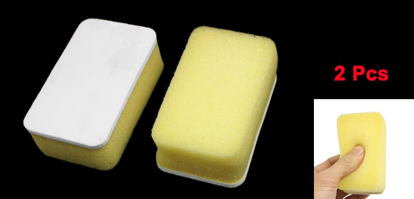 2 Pcs Yellow White Coated Rectangle Shaped Sponge Cleaner for Auto Vehicle