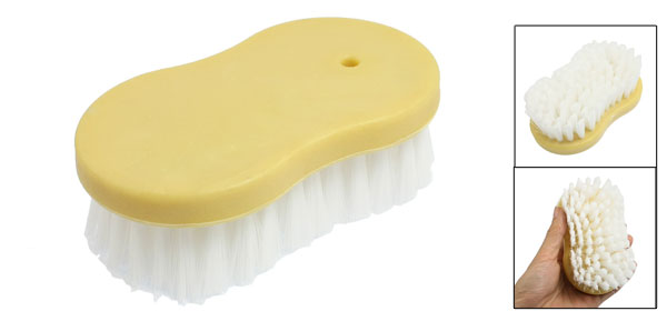 Portable Car Vehicle Seat Plastic Grip Cleaning Brush Yellow White