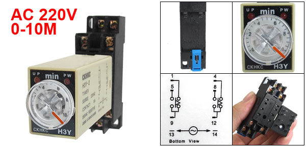 AC 220V H3Y-2 0-10 Minutes 10Min DPDT 8 Pins Power on Time Delay Relay w Socket