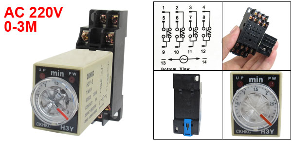 AC 220V H3Y-4 0-3 Minutes 4PDT 14 Pins Power on Time Delay Relay w Socket