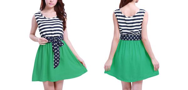 Ladies Green Dark Blue Mini Flare Dress w Dots Prints Belt L