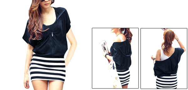 Ladies Navy Blue Elastic Wasit Stripe Pattern Hooded Dress L