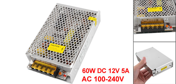 60W DC 12V 5A Switching Power Supply Converter for LED Strip Light AC 100-240V