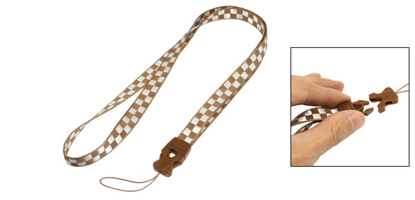 Brown White Check Pattern Textured Nylon Cell Phone Keys Neck Strap String