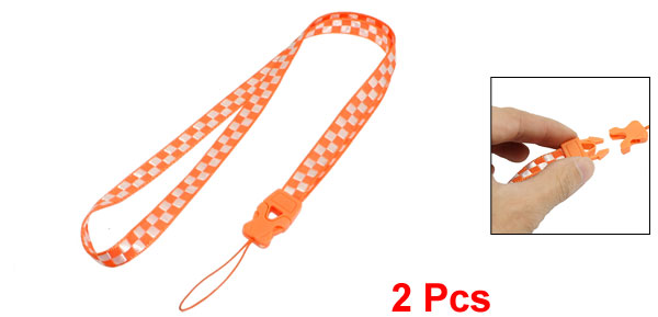 Orange White Check Pattern Textured Release Buckle Nylon Cell Phone Keys Neck Strap String 2 Pcs