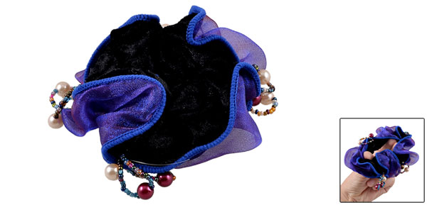Lady Colorful Plastic Beads Accent Gauze Velvet Elastic Hair Tie Ponytail Holder