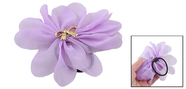 Woman Purple Chiffon Flower Bow Tie Accent Stretchy Hair Tie Ponytail Holder